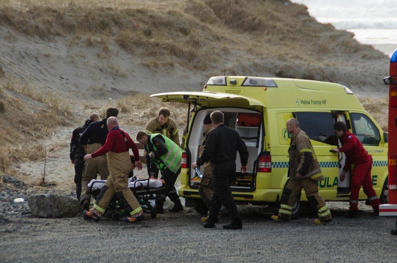 Dødsulykke på sandvesanden. FOTO: Kjell Bua