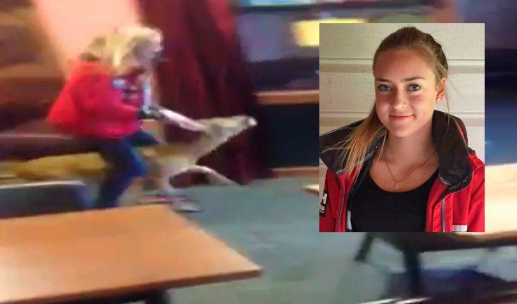 15 år gamle Alida Røysland Guddal ble dagens helt da hun tok rådyret ved horna og geleidet det ut av restauranten. FOTO: Privat