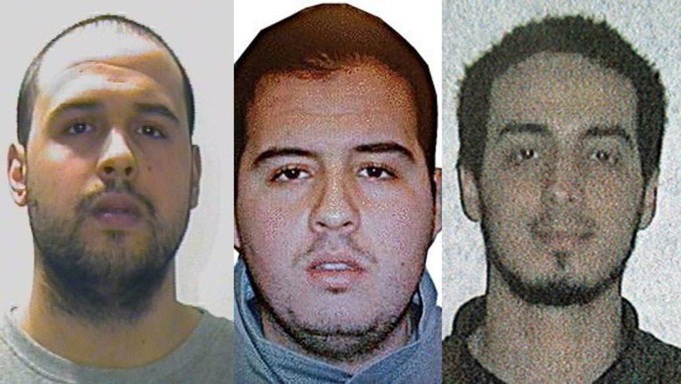 KOBLES TIL BELGIA-ANGREPET: Khalid El Bakraoui (t.v.), Ibrahim El Bakraoui (midten) og Najim Laachraoui (t.h.) Interpol / Belgisk politi