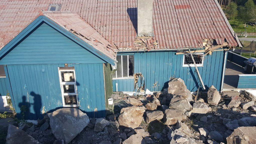sprengning hus skadd