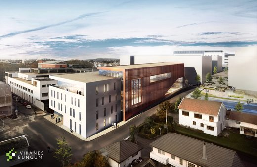 HSH jobber for å etablere ett nytt maritim senter i Haugesund. Tett opp mot dagens høgskolebygg. Tegnet av VIKANES BUNGUM Arkitekter AS