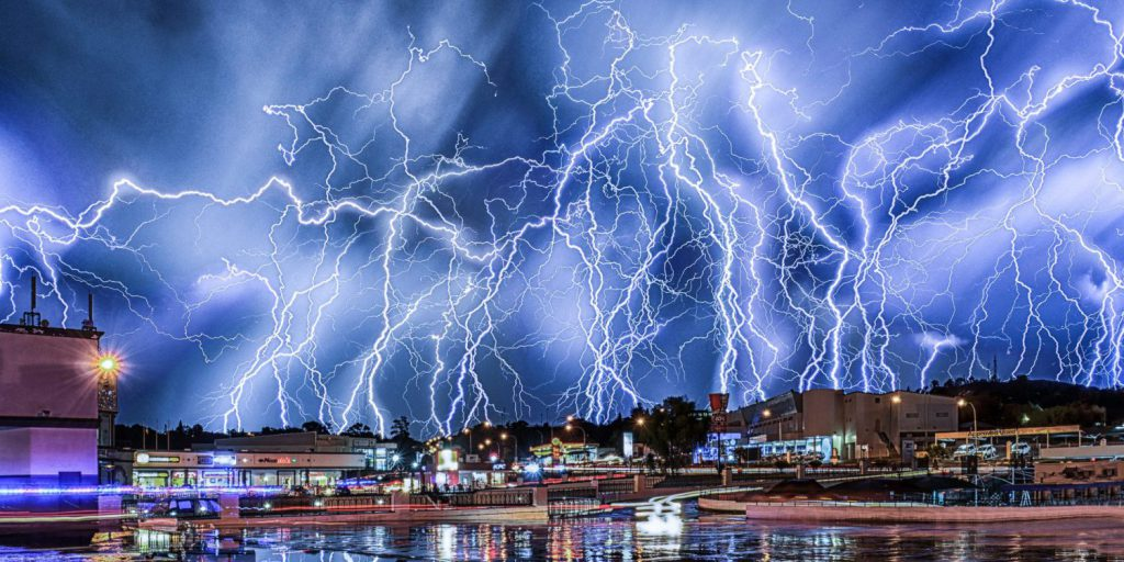 *** EXCLUSIVE ***   JOHANNESBURG, SOUTH AFRICA - FEBRUARY 10: Lightning bolts illuminate the sky in a near-Biblical scene, in a composite image made of dozens of photographs, on February 10, 2015, in Johannesburg, South Africa.  ILLUMINATING the night sky these stunning pictures show hundreds of lightning bolts in full force. Alexius van der Westhuizen, a 46-year-old real-estate agent, captured the dramatic thunderstorm over the skies of Johannesburg, South Africa. Each picture is a composition of dozens of images taken during three-hour sessions over the course of the summer. Lightning strikes are layered over each other to give the impression the sky is erupting with dozens of bolts at once.  PHOTOGRAPH BY Greatstock / Barcroft Media  UK Office, London. T +44 845 370 2233 W www.barcroftmedia.com  USA Office, New York City. T +1 212 796 2458 W www.barcroftusa.com  Indian Office, Delhi. T +91 11 4053 2429 W www.barcroftindia.com